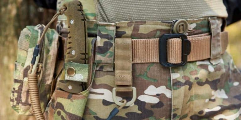 Tactical Belt worn with military gear.
