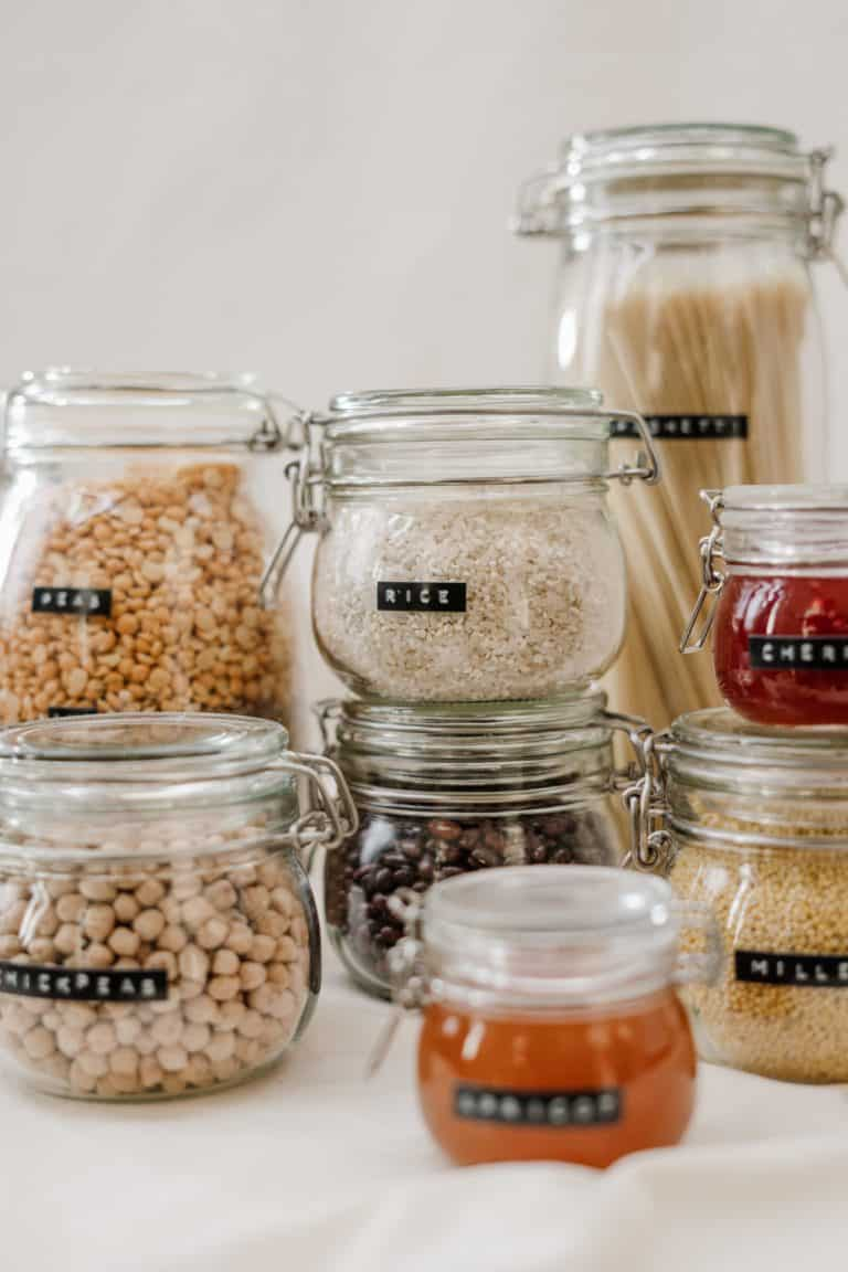 White rice in a glass jar container for long-term storage.