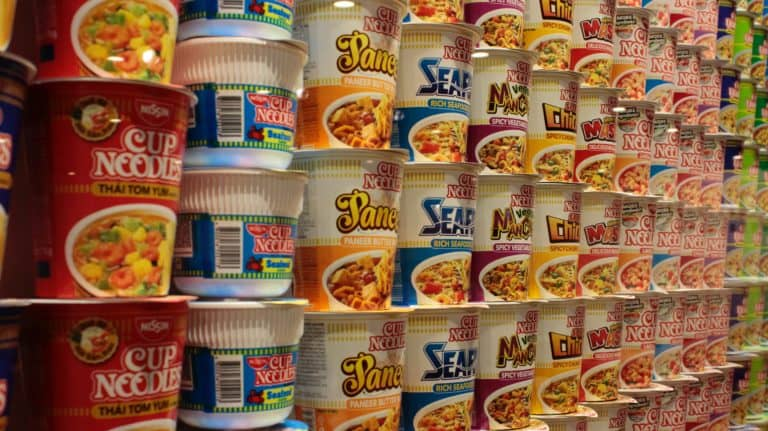 Rows of Instant Cup Ramen
