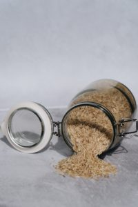 Brown rice in mason jar container