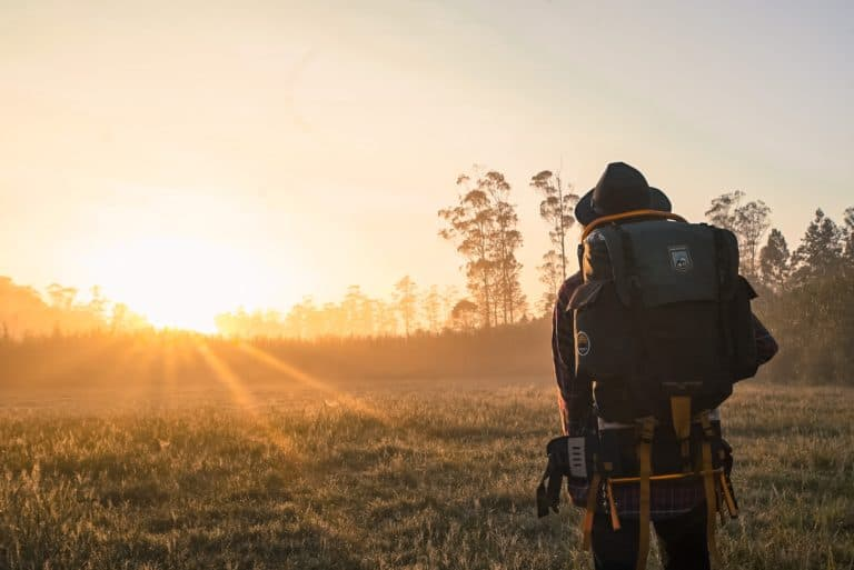 Backpack camping with sunrise