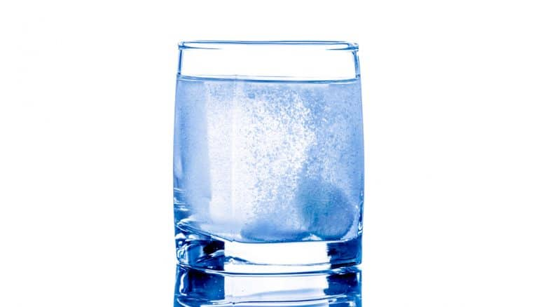 tablets in a glass of water